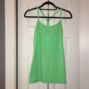 Lululemon power y tank dark neon green